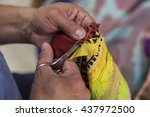 restoring the old textiles. | Shutterstock . vector #437972500