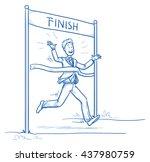 happy business man  running ... | Shutterstock .eps vector #437980759