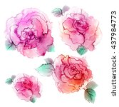 spring watercolor flowers.... | Shutterstock . vector #437984773