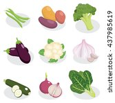 set of vegetable vector cartoon ... | Shutterstock .eps vector #437985619