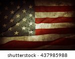 closeup of grunge american flag | Shutterstock . vector #437985988