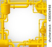 yellow gas pipes. industrial... | Shutterstock .eps vector #438006988