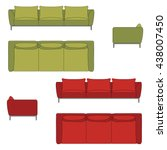 sofa set flat vector... | Shutterstock .eps vector #438007450