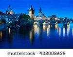 charles bridge in sunset time ... | Shutterstock . vector #438008638