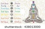 woman sitting in yoga lotus... | Shutterstock .eps vector #438013000