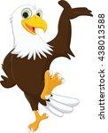 cute eagle cartoon waving hand | Shutterstock . vector #438013588
