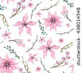 watercolor pink flowers ... | Shutterstock . vector #438014548