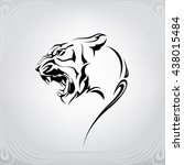 silhouette of tiger head | Shutterstock .eps vector #438015484