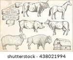 farm collection. hand drawn... | Shutterstock .eps vector #438021994