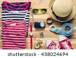 colorful clothes and... | Shutterstock . vector #438024694