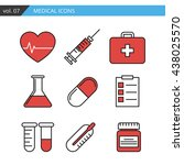 set of medical icons executed... | Shutterstock . vector #438025570