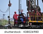 the oil workers in the job | Shutterstock . vector #438026980