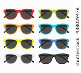 colorful sunglasses set in flat ... | Shutterstock .eps vector #438029476