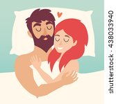 man and woman couple at bed.... | Shutterstock .eps vector #438033940