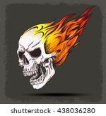 Skull On Fire Vector Icon On...