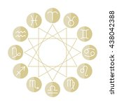 signs of zodiac  flat colored... | Shutterstock .eps vector #438042388