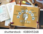 let's go adventure travel... | Shutterstock . vector #438045268