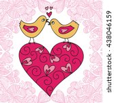 birds  hear and romantic... | Shutterstock .eps vector #438046159