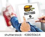 fastfood burger junk meal... | Shutterstock . vector #438050614