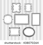 vintage photo frame in doodle... | Shutterstock .eps vector #438070264