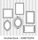 vintage photo frame in doodle... | Shutterstock .eps vector #438070294