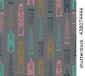 seamless pattern with houses ...   Shutterstock .eps vector #438074446