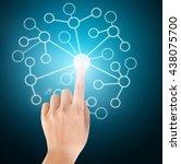 hand pressing modern social... | Shutterstock . vector #438075700