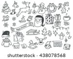 set of christmas doodle | Shutterstock .eps vector #438078568