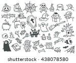 set of halloween doodle | Shutterstock .eps vector #438078580