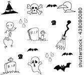hand draw doodle halloween... | Shutterstock .eps vector #438080080