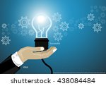 businessman hand with the... | Shutterstock .eps vector #438084484