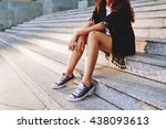 sitting on stairs | Shutterstock . vector #438093613