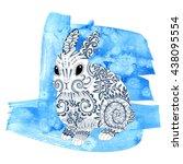 high detail patterned rabbit in ... | Shutterstock .eps vector #438095554