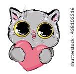 Stock vector card for valentines day vector illustration illustration vector cat cute pet art 438102316