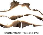 burnt paper edges set isolated... | Shutterstock . vector #438111193