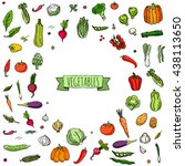 hand drawn doodle vegetables... | Shutterstock .eps vector #438113650