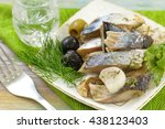 snack with herring fillet and...