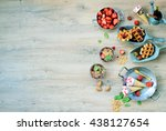 sweet picnic table  waffles... | Shutterstock . vector #438127654