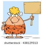 happy blonde cave woman cartoon ...   Shutterstock .eps vector #438129313