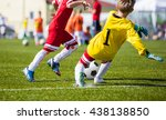 children playing soccer... | Shutterstock . vector #438138850
