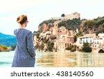 woman traveller enjoying the... | Shutterstock . vector #438140560
