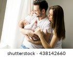 happy family with newborn baby... | Shutterstock . vector #438142660