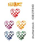set of watercolor hearts. heart ... | Shutterstock .eps vector #438159340