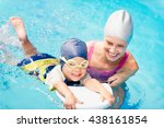 little boy learning to swim... | Shutterstock . vector #438161854