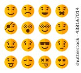 flat style smile emotion icons... | Shutterstock . vector #438167014
