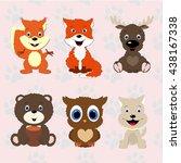 Set Of Animals In Cartoon Styl...