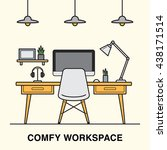 comfy workspace interior with... | Shutterstock .eps vector #438171514