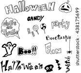 draw halloween in doodle vector ... | Shutterstock .eps vector #438175699