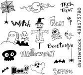 doodle scary ghost halloween... | Shutterstock .eps vector #438175780
