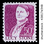 Small photo of UNITED STATES OF AMERICA - CIRCA 1968: A used postage stamp printed in United States shows a portrait of Lucy Stone, famous for women rights and abolishment of slavery, on pink background, circa 1968